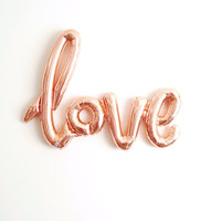 FREE SHIPPING rose gold LOVE air fill jumbo mylar balloon wedding engagement bridal shower calligraphy script