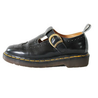 Dr. Martens England Black Leather Mary Jane Wing Tip Preppy Hipster Grunge Summer Doc Martens Shoes Boots Womens Size US 6 UK 4 EUR 36