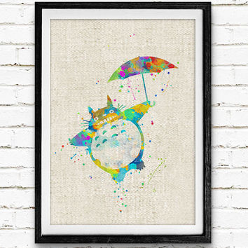 My Neighbor Totoro Watercolor Art Poster Print, Japanese Animated, Wall Art, Home Decor, Boy's Gift, Not Framed, Buy 2 Get 1 Free!
