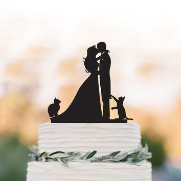 Bride and Groom Wedding Cake topper with cats,  groom kissing bride  funny cake topper. unique wedding cake topper,acrylic cake topper
