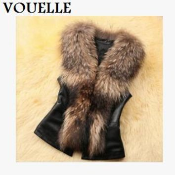 New Hot Sale Imitation fur vest fur coat new autumn and winter women short section raccoon fur collar horse folder  DDBX003