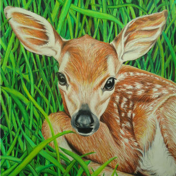 Baby Deer art - Animal drawing - Colored pencil drawing - Original drawing - Animal portrait - Original art Pencil drawing - Faux Taxidermy
