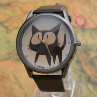 New fashion lady girl woman child children 6 color cute big eye black cat wrist watch
