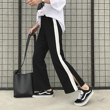 Women Loose All-match Simple Multicolor Stitching Split Leisure Wide Leg Pants Trousers Sweatpants