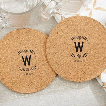 Personalized Round Cork Coasters - Rustic (Set of 12)
