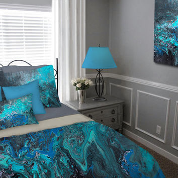 Duvet Cover, Teal turquoise blue black gray aqua, Bohemian Bedding set, Abstract, Master bedroom decor, King Queen Full Twin, Modern decor