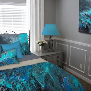 Duvet Cover  Teal turquoise blue black gray aqua  Bohemian Bedding set   Abstract. Shop Teal Bedroom Set on Wanelo