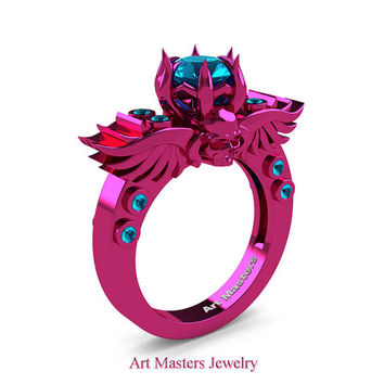 Art Masters Classic Winged Skull 14K Fuchsia Pink Gold 1.0 Ct Blue Topaz Solitaire Engagement Ring R613-14KPGBT