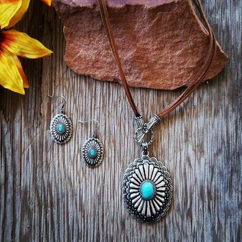 Turquoise Concho Leather Cord Necklace