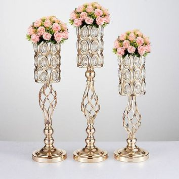 20PCS/LOT Metal Gold Candle Holders Road Lead Table Centerpiece Stand Pillar Candlestick For Wedding Candelabra Flowers Vases