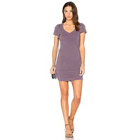 V-Neck Mini Rouched Acai Dress