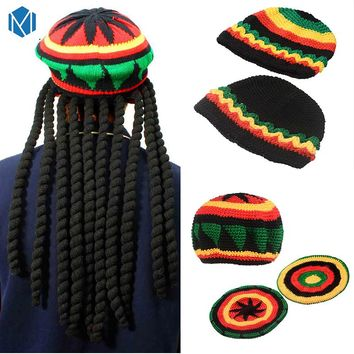 Miya Mona Men's Winter Hat Wig Braid Jamaican Bob Marley Rasta Multicolor Headwear Striped Cappello Beanie Hip hop knit cap
