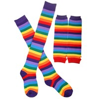 Rainbow Strips Arm Warmer Leg Stocking Colorful Thigh High Socks Fingerless Gloves Sleeve Set for Women Girls