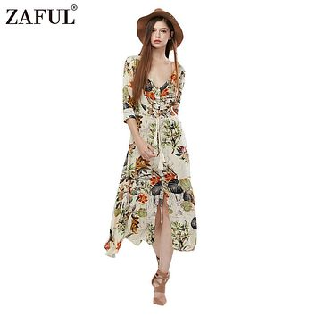 ZAFUL 2017 NEW Autumn Spring Bohemian Vintage Dress Women Ethinc Print Long Sleeve Split hem Long Maxi Dresses female Vestidos