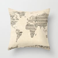 Old Sheet Music World Map Throw Pillow by ArtPause