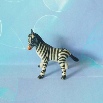 Zebra figurine Ceramic Doll house Miniature animal figurines -miniature figures- mini dollhouse -collectible