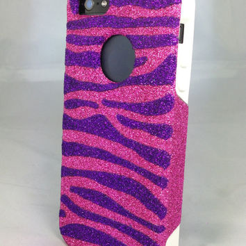 Custom Glitter Design Case Otterbox for iPhone 5 Raspberry/White Purple Zebra Stripes