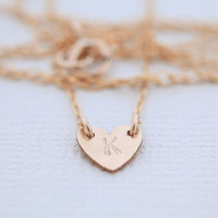 initial necklace, tiny heart necklace for monogram necklace, dainty necklace for personalized jewelry, simple necklace - gold filled