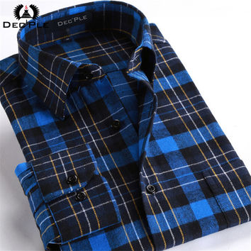 4XL Cotton Flannel Men Shirts 2017 fashion spring long plaid shirt men long sleeve plaid striped casual Shirt male plaid Shirts