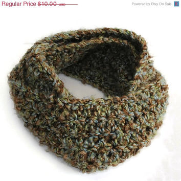 Crocheted Infinity Neck Scarf in Acrylic - (#300.1)