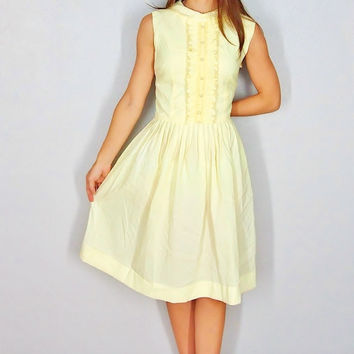 1950s Yellow Dress, 50s Style Yellow Dress, Casual Party Dress or Day Dress, Fit and Flare Medium Small