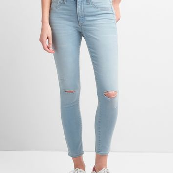 Washwell Mid Rise Favorite Jeggings with Destruction|gap
