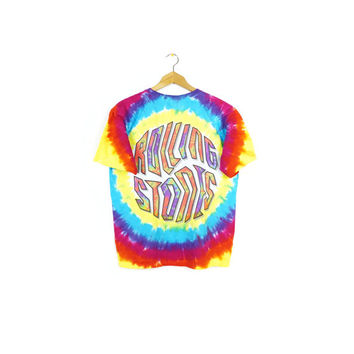ROLLING STONES tie dye shirt / liquid blue tee / fractal tongue / rainbow / medium
