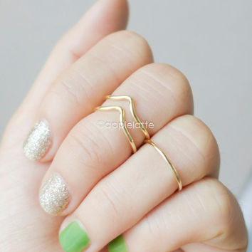 a set of midi rings,Chevron ring,double line Chevron knuckle Ring, midi stacking band ring in gold or silver