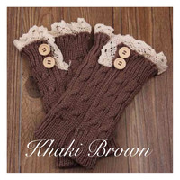 Lace Motif Button Accent Khaki Brown Boot Toppers, Boot Cuffs, Women's Accessories