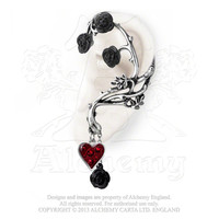 Alchemy Gothic Bed of Blood Black Roses Red Heart Ear Wrap