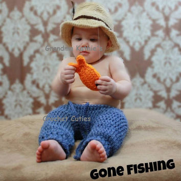 Crochet Fishing Hat Photo Prop, Boy Hat, Newborn Fishing Hat, Photo Prop Fishing Hat, Newborn Fishing Photo Prop, Baby Fishing Hat
