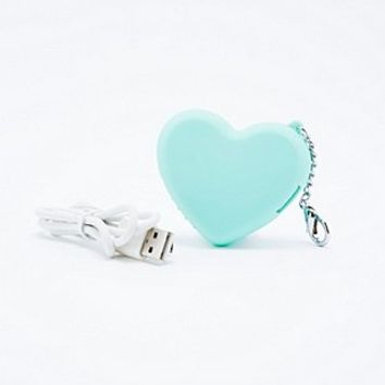 Heart Portable Phone Charger in Mint - Urban Outfitters