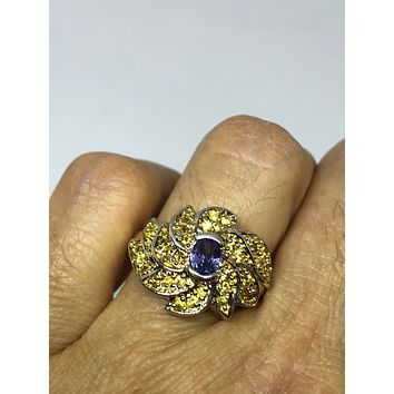 Vintage Handmade deep blue Iolite and citrine setting 925 Sterling Silver gothic Ring