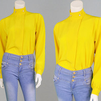 Vintage 80s Blouse WINDSMOOR Mustard Yellow Blouse Secretary Blouse Office Blouse Womens Shirt Made in England Party Top High Neck 1980s