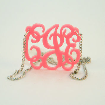 HandCrafted Acrylic 3 Initials Monogram Necklace - 1.25 inch Vine Personalized Monogram Custom Lasercut
