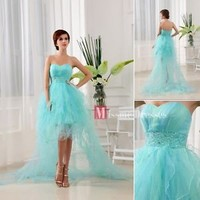 2013 Cheap New Fashion Blue Short Front Long Back Homecoming Dress Prom Dresses