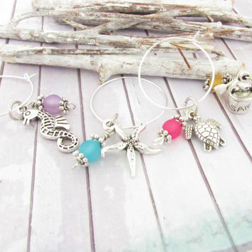 Set of 8 Wine Glass Charms - Beach Theme