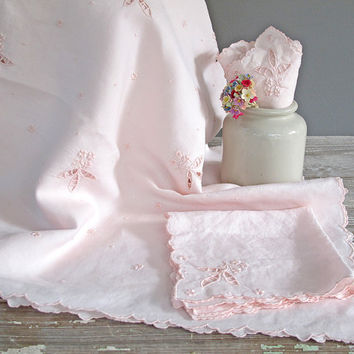 vintage pink floral embroidered tablecloth by KatyBitsandPieces