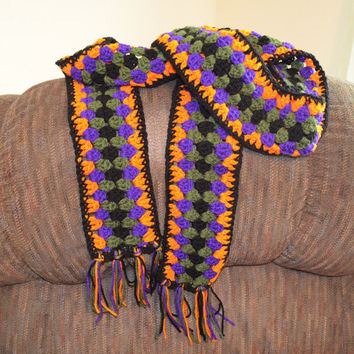 Halloween scarf crochet scarf woman fashion accessories fall scarf gift idea unique Halloween scarf orange purple green black with fringe