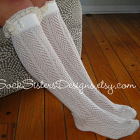 Boot Sock in Chevron Pattern with Ivory Lace -  Sock Sisters Knee High Boot Sock