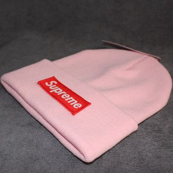 Supreme knit hat patch letters wool cap Pink