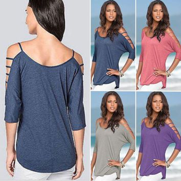 Women's Summer Tee Shirt Cold Shoulder Tops Blouse Loose Solid Cut Out T-Shirt
