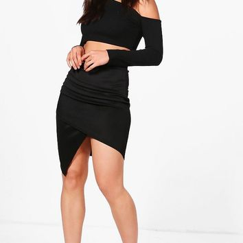 Gracie Rouched Side Asymmetric Skirt | Boohoo