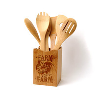 Farmhouse Style Bamboo Kitchen Utensil Holder - Farm Sweet Farm Kitchen Decor