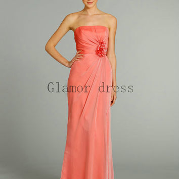 floor length simple chiffon bridesmaid dresses    strapless column gowns for evening prom   cheap elegant prom dress bridesmaid dress