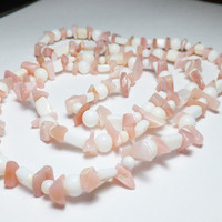 Pink and White Opal Endless Beaded Necklace