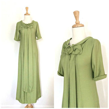 Vintage Maxi Dress - green bridesmaid dress - alternative wedding - cotton maxi - S M