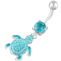 "14Gauge (1.6mm), 3/8"" Inch (10mm) turtle Aquamarine Swarovski Crystal Ferido dangle belly dangling navel button ring dangly bar AFEQ - Pierced Body Piercing Jewelry"
