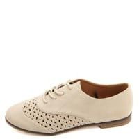 Laser Cut-Out Wingtip Oxfords by Charlotte Russe - Beige