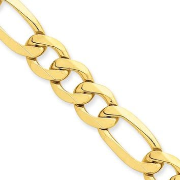 10mm, 14k Yellow Gold, Flat Figaro Chain Necklace, 20 Inch